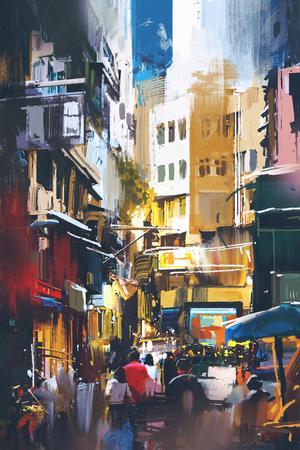 도시 거리에서 디지털 아트 스타일, 그림 그림을 산책하는 사람들