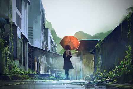 mysterious woman holds orange umbrella standing on street in abandoned city with digital art style, illustration painting
