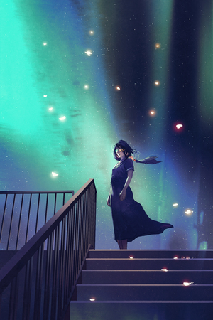 the woman in a dark blue dress standing on stairs against beautiful starry sky with digital art style, illustration painting