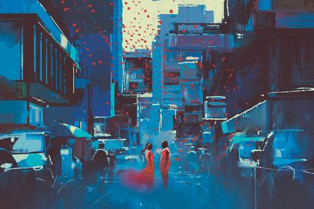 man en vrouw in rood die zich in blauwe stad met digitale kunststijl, illustratie het schilderen bevinden