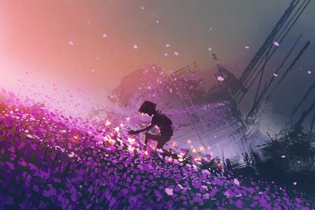 빛나는 나비, 디지털 아트 스타일, 그림 그리기 놀이 보라색 필드에 앉아 로봇