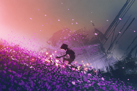 de robot zit op paarse veld spelen met gloeiende vlinders, digitale kunststijl, illustratie schilderij Stockfoto