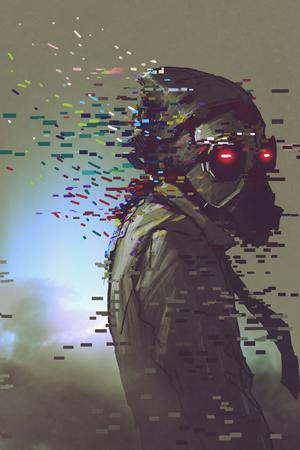 the man cyborg in a futuristic mask with glitch effect, digital art style, illustration painting