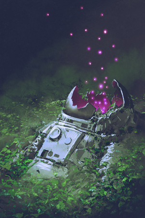 the remains of the astronaut with glowing insects covered with plants, digital art style, illustration painting