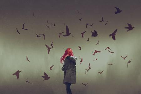de vrouw met rood haar staande onder vogels, digitale kunststijl, illustratie schilderij