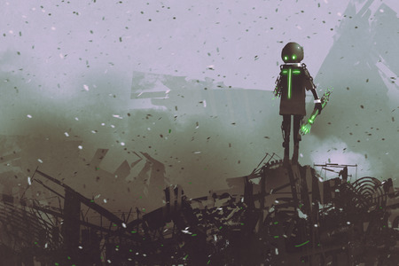 black robot holding a mechanical arm standing on a pile of spare parts, digital art style, illustration painting