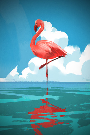 Flamingo standing on the sea against summer blue sky with digital art style, illustration painting