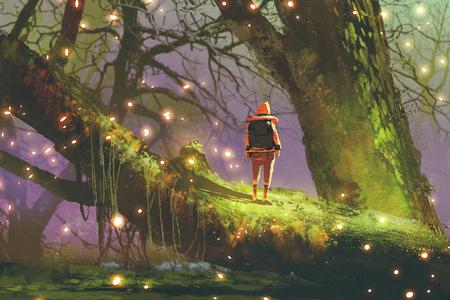 wandelaar met rugzak staande op gigantische boom met vuurvliegjes in betoverde bossen, digitale kunststijl, illustratie schilderij