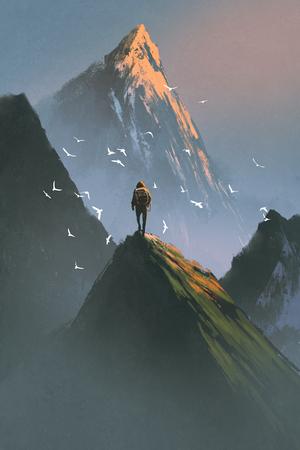 man die op de top van de berg kijken naar andere bergen met digitale kunststijl, illustratie schilderij