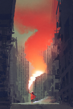 デジタル アート スタイル、絵画の図を持つ放棄された街の通りに赤い煙フレアを保持している女性