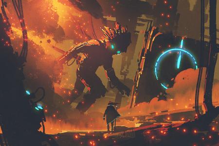 Concetto di fantascienza dell'uomo che esamina robot gigante con la città bruciante su fondo, stile digitale di arte, pittura dell'illustrazione Archivio Fotografico - 80903985