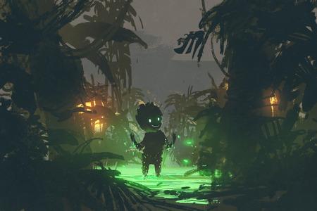 어둠의 자연에서 태어난 열대 우림, 디지털 아트 스타일, 일러스트레이션 페인팅에서 만든 마법의 늪에서 만든 귀여운 생물 스톡 콘텐츠