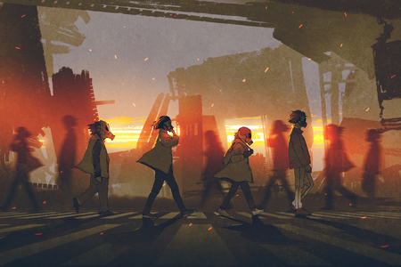 people with gas masks walking on street in futuristic city at sunset, digital art style, illustration painting