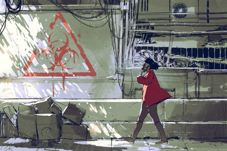 woman in red with gas masks walking on street in polluted urban with biohazard symbol on the wall, digital art style, illustration painting Stock Photo