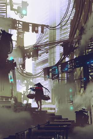 cyberpunk concept showing robot carrying on a shoulder pole walking in futuristic city, digital art style, illustration painting Banco de Imagens