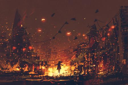 siluette della donna sul fondo bruciante del villaggio, stile di arte digitale, pittura dell'illustrazione Archivio Fotografico