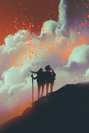 silhouettes of hikers standing on mountain watching smoke with lava explosion from volcano, digital art style, illustration painting