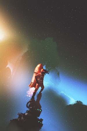 the spaceman with red jetpack rocket standing against starry sky, digital art style, illustration painting Stockfoto