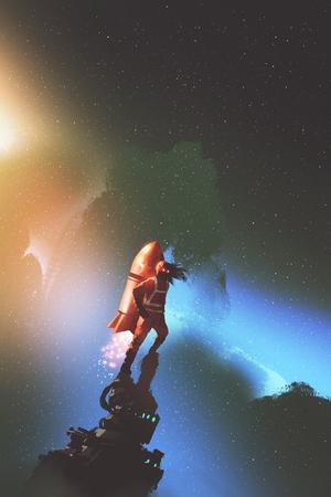 L'homme de l'espace avec une fusée à réaction rouge se tenant contre le ciel étoilé, style d'art numérique, illustration Banque d'images - 81409464