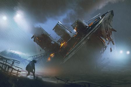 男のシーンは雨の夜、デジタル アートのスタイル、絵画の図で沈没船を脱出します。