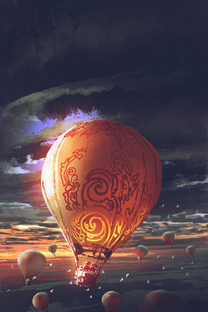 hot air balloons floating in the sky at sunset, digital art style, illustration painting