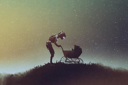 jonge robot die baby in een wandelwagen tegen sterrige hemel, digitale kunststijl, illustratie het schilderen bekijken