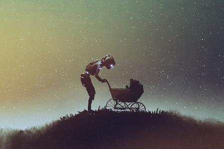 young robot looking at baby in a stroller against starry sky, digital art style, illustration painting Stock Photo