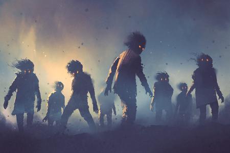 夜、デジタル アートのスタイル、絵画イラストで歩くゾンビの群衆のハロウィーンの概念