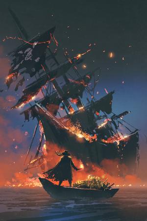 de piraat met brandende fakkel staande op boot met schat kijken zinkend schip, digitale kunststijl, illustratie schilderij Stockfoto