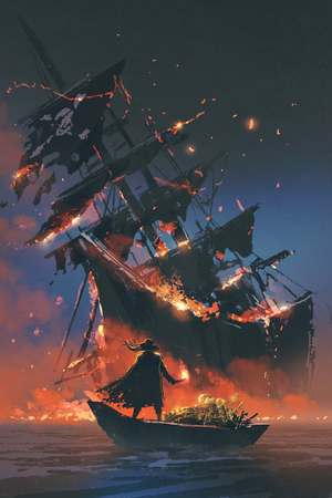 the pirate with burning torch standing on boat with treasure looking at sinking ship, digital art style, illustration painting Stock Photo