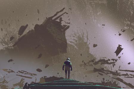 サイエンス フィクション シーンは枯れた大地をデジタル アートのスタイル、イラスト絵画の光路の上を歩く宇宙飛行士を示しています。