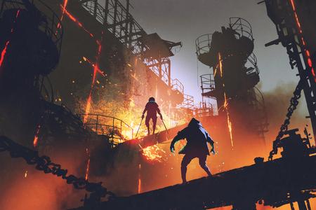 sc.i-FI scène die strijd van twee futuristische strijders in industriële fabriek, digitale kunststijl, illustratie het schilderen toont
