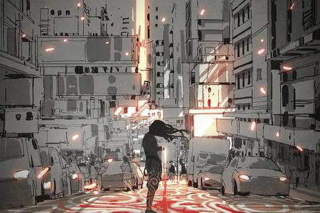 거리, 디지털 아트 스타일, 그림 그리기에 그래픽 패턴으로 도시에 서있는 긴 머리를 가진 남자