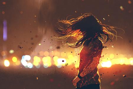 de scène van vrouw met gebarsten effect op haar lichaam tegen defocused lichten, digitale kunststijl, illustratie het schilderen Stockfoto