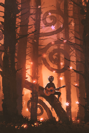young man playing guitar in fantasy autumn forest with falling maple leaves, digital art style, illustration painting