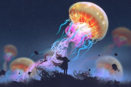 silhouet meisje kijken naar reusachtige kwallen drijvend in de lucht, digitale kunst stijl, illustratie schilderij Stockfoto