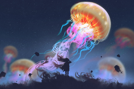 silhouette girl looking at giant jellyfish floating in the sky, digital art style, illustration painting Stock Photo