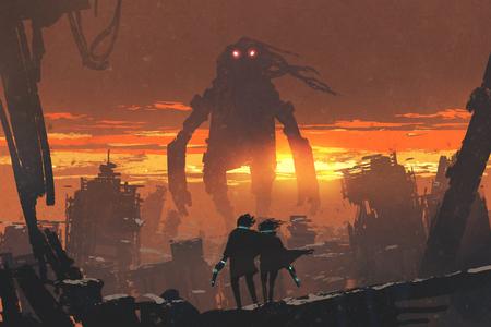 Sci-Fi-Szene von Paar halten Pistole Blick auf riesigen Roboter stehend in zerstörten Stadt, digitale Kunst Stil, Illustration Malerei Standard-Bild
