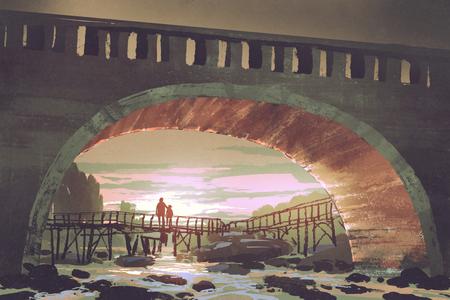 landschap van rivierpas onder oude brug bij zonsondergang, digitale kunststijl, illustratie het schilderen