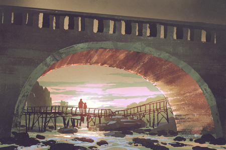scenery of river pass under old bridge at sunset, digital art style, illustration painting