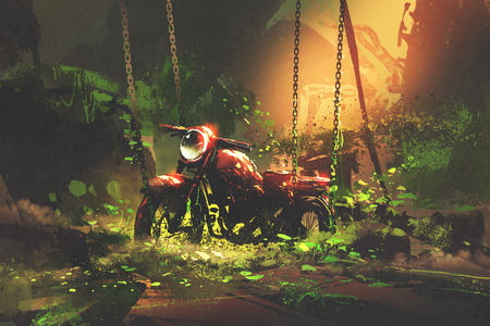 abandoned rusty motorbike in overgrown vegetation, digital art style, illustration painting