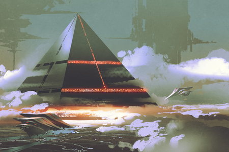 sci-fi scene of futuristic black pyramid floating over earth surface, digital art style, illustration painting Foto de archivo