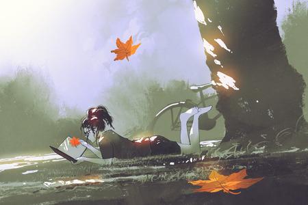 de herfst komt concept, jong meisje die op gras leggen die een boek in park met esdoornbladeren lezen die, digitale kunststijl, illustratie het schilderen vallen