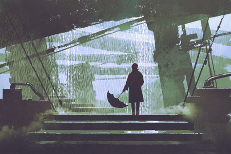 sci-fi scene of man with umbrella stands under building in rainy day, digital art style, illustration painting
