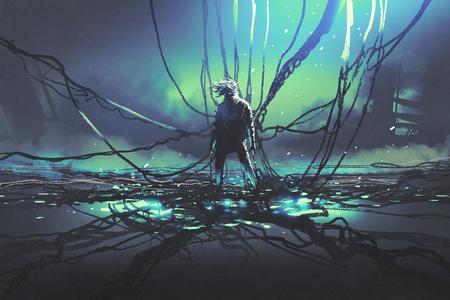 Scena dell'uomo futuristico con molti cavi neri contro la fabbrica scura, stile di arte digitale, pittura dell'illustrazione Archivio Fotografico - 82173332