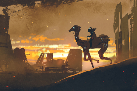 sci-fi scene of man on futuristic camel running in apocalypse city at sunset, digital art style, illustration painting Stock Photo