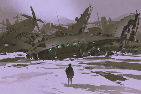 雪の中、デジタル アート スタイルの図で破壊された飛行機の絵画に残っている男を見て