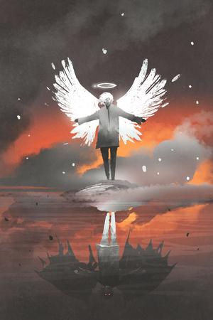 Uomo con le ali di angelo visto come diavolo nella riflessione dell'acqua, stile di arte digitale, pittura dell'illustrazione Archivio Fotografico - 82730494