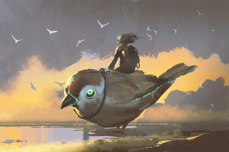 young girl sitting on giant futuristic bird, digital art style, illustration painting