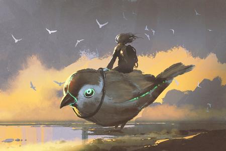 Joven, niña, Sentado, gigante, futurista, pájaro, digital, arte, estilo ... Foto de archivo - 82730495